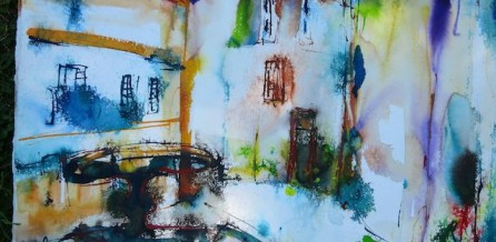 Auf dem Marktplatz von Cetona gemalt