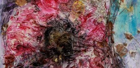 Blüte Mixed Media 60x60 cm