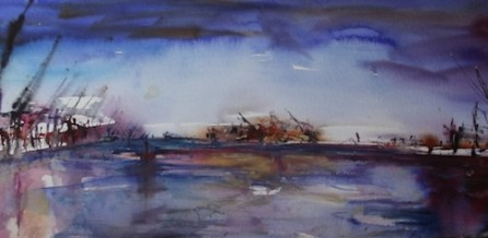 Hamburg Panorama, Aquarell